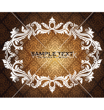 Free vintage floral frame with damask background vector - Free vector #248727