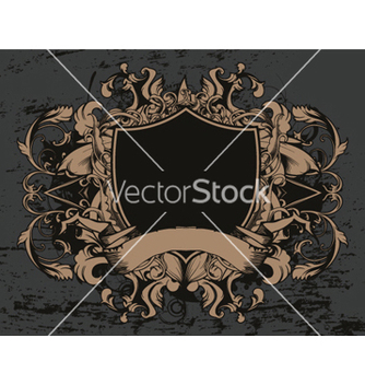 Free shield with floral and grunge vector - Kostenloses vector #248737