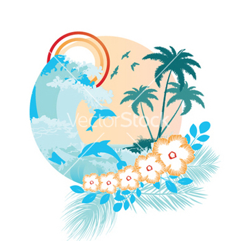 Free summer with hibiscus vector - Free vector #249417