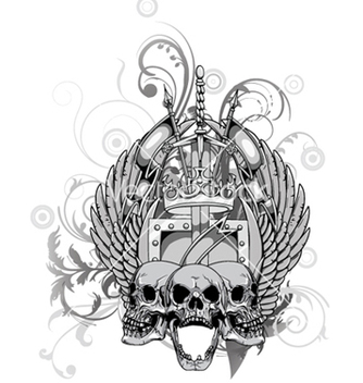 Free floral with skull and wings vector - vector gratuit #249487