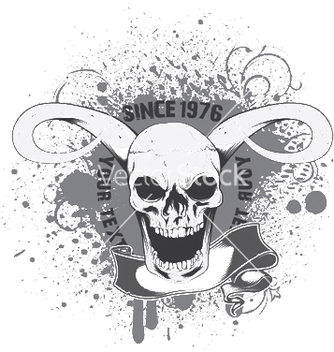 Free skull with grunge and scroll vector - бесплатный vector #249557