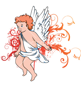 Free angel with floral vector - Kostenloses vector #250107