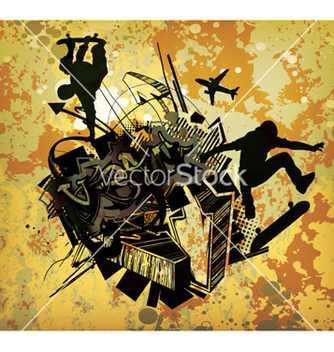 Free urban poster with skaters vector - Free vector #250207