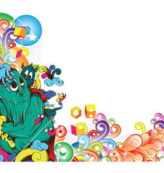 Free funny monsters with floral vector - Kostenloses vector #250297