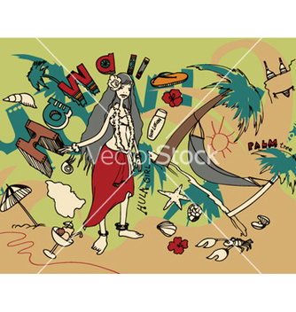 Free hawaii doodles vector - Free vector #250397