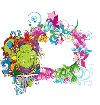 Free funny monsters on a floral frame vector - Kostenloses vector #250747