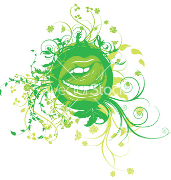 Free mouth with floral vector - vector gratuit #250837