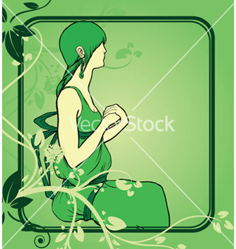 Free girl with floral vector - Free vector #251097