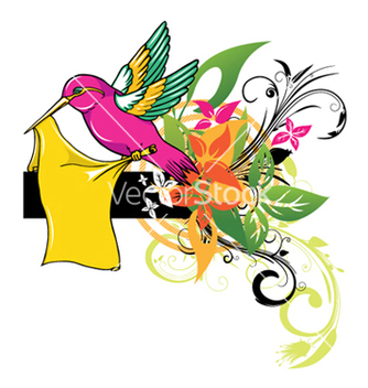 Free bird with floral vector - Free vector #251567