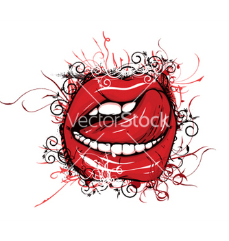 Free mouth with floral vector - vector #252437 gratis