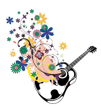 Free guitar with floral vector - Free vector #253117