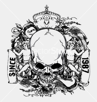 Free skull with floral and angels vintage tshirt vector - Free vector #253167