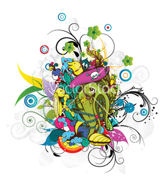 Free funny monsters with floral vector - vector gratuit #253657