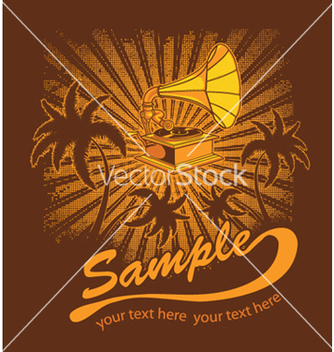 Free summer music tshirt design with gramophone vector - vector gratuit #253907