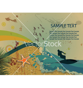 Free surfer on vintage summer background vector - Free vector #254307