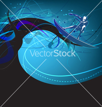 Free surfer with waves vector - Kostenloses vector #254337