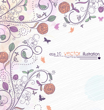 Free floral with butterflies vector - Free vector #254357