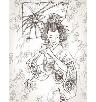 Free hand drawn geisha vector - бесплатный vector #254837
