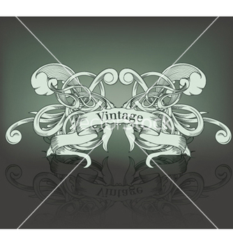 Free vintage emblem with ribbon and floral vector - Free vector #256277
