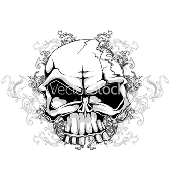 Free skull with floral vector - Kostenloses vector #256407