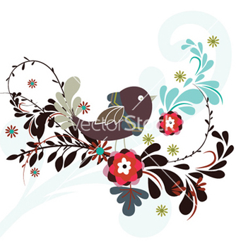 Free abstract bird with floral vector - Free vector #256417