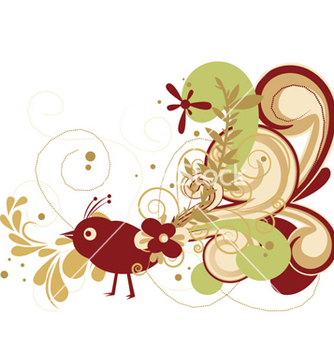 Free abstract bird with floral vector - Kostenloses vector #257187