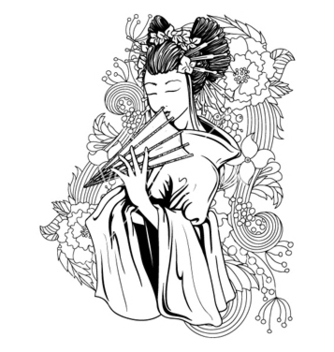 Free geisha with floral vector - Free vector #257417