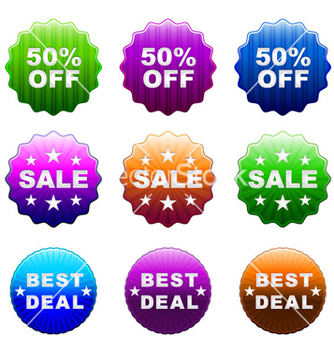 Free glossy stickers set vector - Free vector #257667