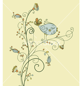 Free bird on floral vector - бесплатный vector #258707