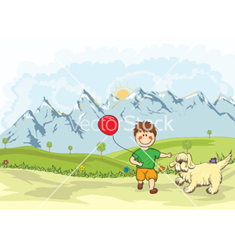 Free funny kid playing with a dog on the mountain side vector - Free vector #258857