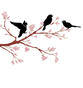 Free birds on branch vector - Free vector #258977