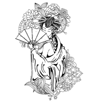Free geisha with floral vector - Free vector #259277