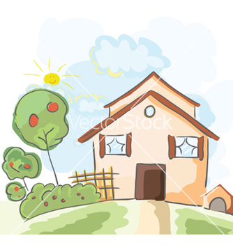 Free house with trees vector - Kostenloses vector #259877