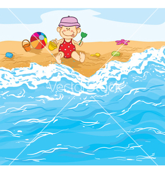 Free little baby boy playing on the beach vector - vector gratuit #260537