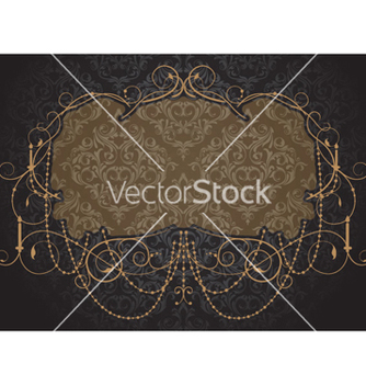Free vintage label with damask background vector - Free vector #260567