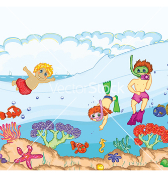 Free kids swimming vector - vector gratuit #260727