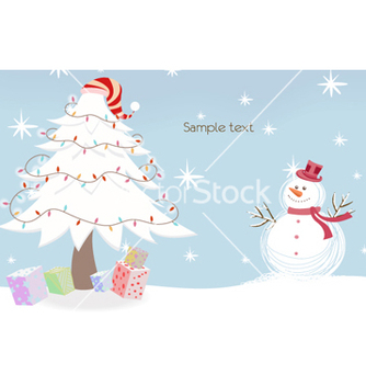 Free snowman with tree vector - vector gratuit #261097