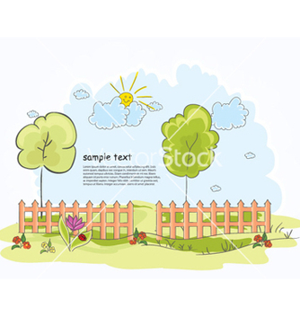 Free trees with clouds vector - vector gratuit #261247