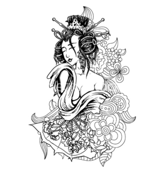 Free geisha with floral vector - Free vector #261257