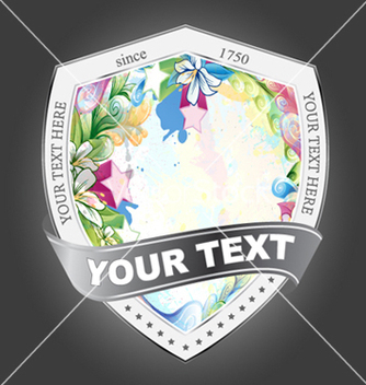 Free shield with floral vector - Kostenloses vector #261977