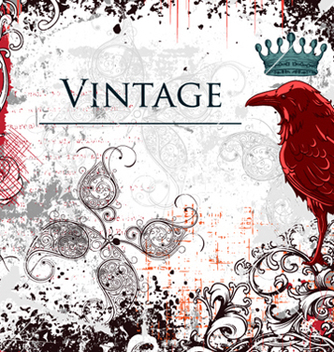Free vintage ilustration with crow vector - бесплатный vector #262127