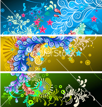 Free abstract banners set vector - Kostenloses vector #262217