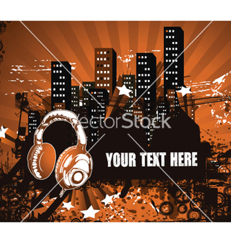 Free headphones with urban background vector - Free vector #262897