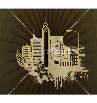 Free grunge background with city vector - Free vector #263277