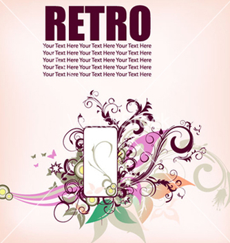 Free retro floral frame vector - Free vector #263657