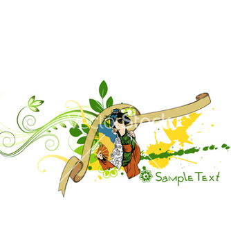 Free geisha with floral vector - Free vector #264187