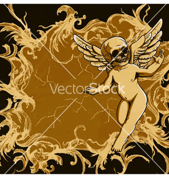 Free grunge floral frame with angel vector - Free vector #264367