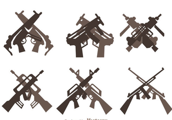 Crossed Guns Icons Set - Free vector #264577