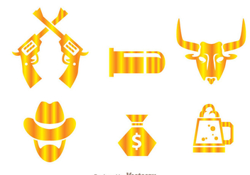 Cowboy Gold Icons - Free vector #264587