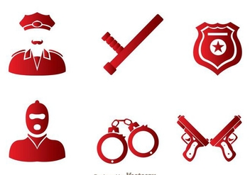 Police Vector Icons Set - Kostenloses vector #264597